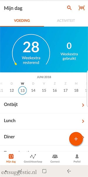 eetsuggestie Recept toevoegen via de weight watchers app - stap 1