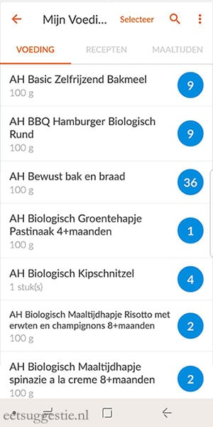 eetsuggestie Recept toevoegen via de weight watchers app - stap 3