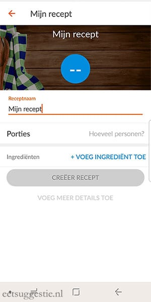 eetsuggestie Recept toevoegen via de weight watchers app - stap 5