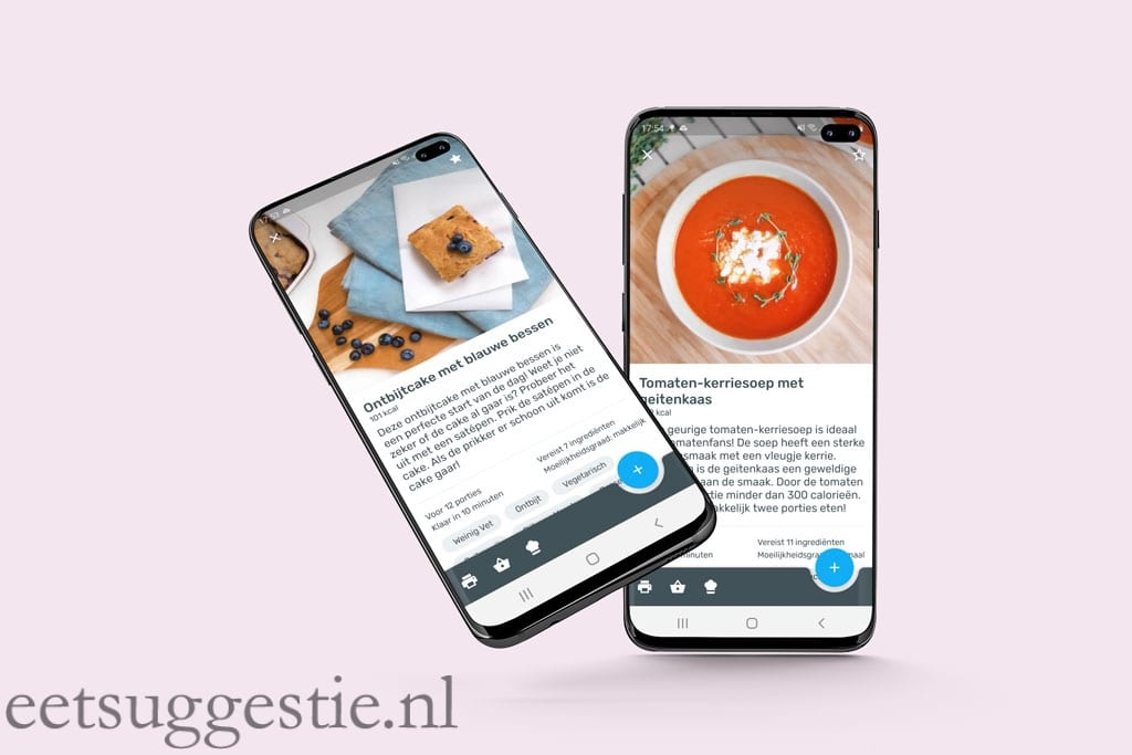 YAZIO app screenshots van eetsuggestie.nl